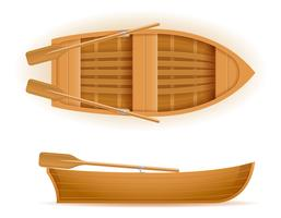 ilustração de vetor de vista superior e lado de barco de madeira