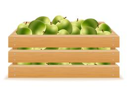 wooden box of apples vector illustration