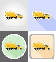 truck concrete mixer flat icons vector illustration