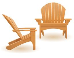 beach or garden armchair lounger deckchair made of wooden vector illustration