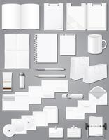 set icons white blank samples for corporate identity design vector illustration
