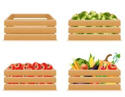 set wooden box with fresh and healthy vegetables vector illustration