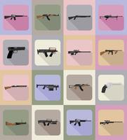 modern weapon firearms flat icons vector illustration