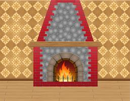 fireplace in the room vector