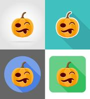 halloween pumpkin flat icons vector illustration