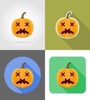 Halloween pompoen plat pictogrammen vector illustratie
