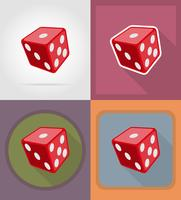 cube dice casino flat icons vector illustration
