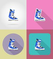 Botas de esquí iconos planos vector illustration