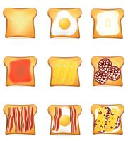 Set Icons Toast-Vektor-Illustration vektor