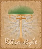retro style poster old table lamp vector illustration
