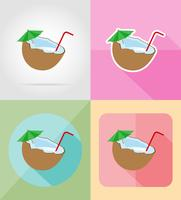 cocktail d'icônes plat de noix de coco vector illustration