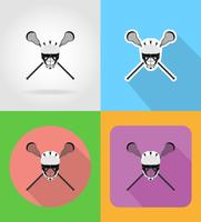 lacrosse equipment flat icons vector illustration