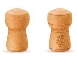 corcho de corcho para la ilustración de vector de botella de champagne