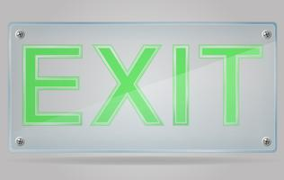 transparent sign exit on the plate vector illustration