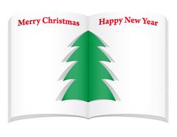 blank notebook with christmas and new year tree vector illustration