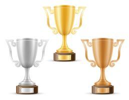 Copa ganador oro plata bronce stock vector ilustración