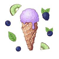 Set of ice cream with fruits including blackberry, kiwi, blueberry