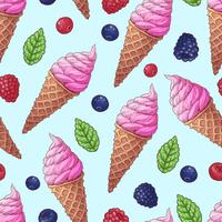 Seamless pattern ice cream wild berries. Vector illustration