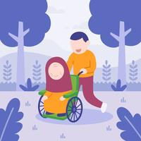 man helping her mom in wheelchair. happy family. flat vector illustration.