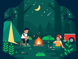Camping people illustration with two human characters having outdoor rest break in the wild environment at night vector flat illustration