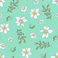 Seamless pattern daffodils. Hand drawing vector illustration