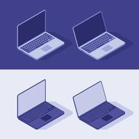 Isometric Laptop Vector in light and dart theme. Flat style Illustration.