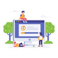 People waiting for download finished with big desktop monitor and leaf background. landing page flat illustration