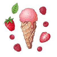 Ajuste a cereja da framboesa da morango do gelado. Desenho à mão. Ilustração vetorial