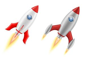 espacio cohete retro nave espacial ilustración vectorial
