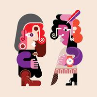 Two modern stylish women vector illustration