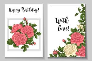 Postcard coral roses. Hand drawing Vector illustration