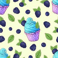 Seamless pattern cupcakes blackberry, blueberry