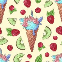 Seamless pattern ice cream kiwi raspberry cherry. Vector illustration