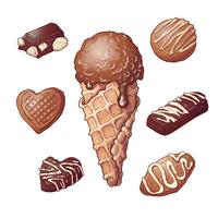 Set ice cream chocolate nut, hand drawing. Vector illustration