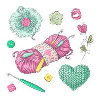 Set for handmade knitted flowers and elements and accessories for crocheting and knitting