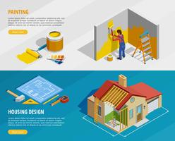 Home Renovation Isometric Horizontal Banners vector