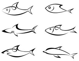 Fish - set of vector icons