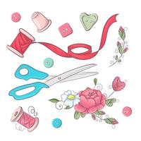 Un conjunto de accesorios de costura. Dibujo a mano. Ilustración vectorial
