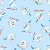 Seamless pattern with funny teeth. Hand drawing. Vector illustration