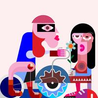 Ciclista y su novia ilustración vectorial