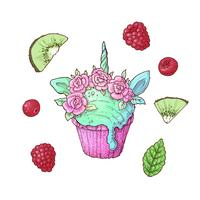 Réglez la crème glacée kiwi framboise Licorne. Illustration vectorielle Dessin à main levée