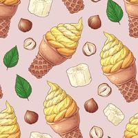 Seamless pattern ice cream fruit nuts. Vector illustration. Hand drawing
