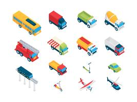 Isometric Transport Clip Art Set