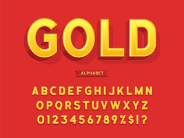 3D Gold Bold Alphabet vector