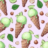 Seamless pattern ice cream nuts kiwi. Hand drawing. Vector illustration