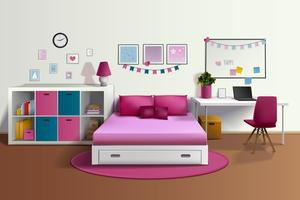 Girl Room Realistic Interior
