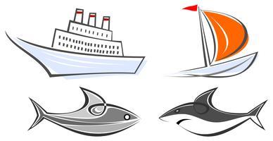 Conjunto de iconos marinos - transatlántico, yate, tiburón y pez
