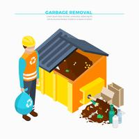 Garbage Removal Isometric Poster
