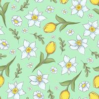 Seamless pattern of daffodils tulips. Hand drawing vector illustration