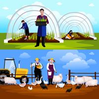 Boeren Tuinmannen 2 Horizontale Flat Banners Set